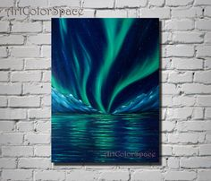 Original painting Northern Lights by ArtColorSpace. Aurora borealis/ Oil painting on canvas/ Night sky/ Mountain/ Landscape painting/ Northern lights painting/ Starry night/ Large wall art/ Size 24 x 32 (60 x 80 cm)  ➢ABOUT THIS PAINTING The painting handmade executed professional oil paints on canvas. The sides of the canvas are painted in the background painting. Looking at this painting you can be admired at how inventive Mother Nature. So, Aurora Borealis is a natural phenomenon, which…
