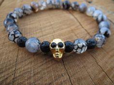HALLOWEN Gray Dragon Veins Agate Bracelet Men by BohemianChicbead