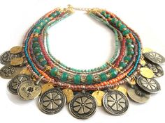 Beaded multiple strands antique kuchi coin necklace - indian summer ethnic jewelry - bohemian hippie gypsy style. €195.00, via Etsy.
