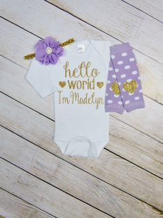 Newborn Girl Personalized Outfit Hello World Lavender Gold Glitter Heart Headband Leg Warmers Baby Girl Coming Home Outfit Gift Take Home by mamabijou on Etsy https://www.etsy.com/au/listing/286594875/newborn-girl-personalized-outfit-hello