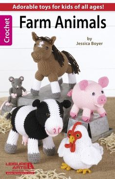 Farm Animals Crochet Patterns Cow Chicken Pig Horse Mouse Lamb Sheep Book Toys | eBay