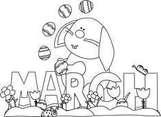 March Bunny Coloring Pages Umbrella Coloring Page, Bunny Coloring Pages, Spring Coloring Pages, Flower Coloring Pages, Free Printable Coloring Pages, Colouring Pages, Coloring Pages For Kids, Adult Coloring, Kids Coloring