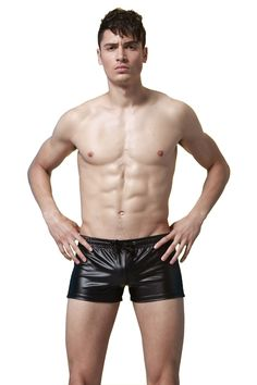 Novelty Faux Leather Drawstring Sexy Men Swim Swimming Trunk Swimwear Swimsuit Man Club Stage Performance Boxer Shorts Underwear