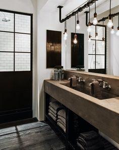 Industrial Bathroom Lighting, Bathroom Light Fixtures, Bathroom Vanity Lighting, Bathroom Furniture, Bathroom Interior, Bathroom Ideas, Design Bathroom, Bathroom Inspiration, Bathroom Wall