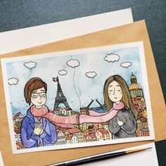 about friendship✨ *custom illustration Watercolor Pictures, Watercolor Sketch, Watercolor Paintings, Marker Art, Art For Art Sake, Illustrations And Posters, Whimsical Art, Art Sketchbook, Easy Drawings