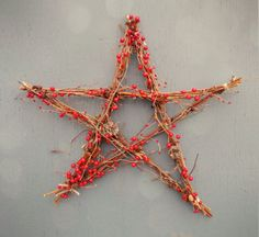 Christmas star - Étoile de Noël - pine cones, red berries and tree branch -Branches, fruits rouges et cocottes