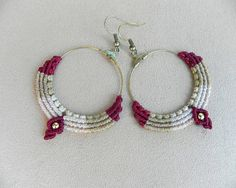 Macramé Hoop Earrings. Tribal earrings. Bohemian jewelry. Hippie jewelry. Gypsy earrings. Hippie Chic. Boho chic.