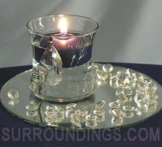 Mini crystal drop floating candle centerpiece