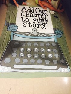 Storybook Recruitment Banner: Add Our Chapter to Your Story. Gamma Xi at Kentucky Wesleyan