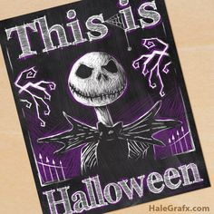 FREE printable Halloween Jack Skellington chalkboard art by HaleGrafx