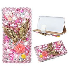 Evtech(tm) Butterfly Pink Rhinestone Bling Crystal Glitter Book Style Folio PU Leather Wallet Case with Handbag Phone Holder & Card Slots for iPhone6 plus/iPhone 6s plus - http://leather-handbags-shop.com/evtechtm-butterfly-pink-rhinestone-bling-crystal-glitter-book-style-folio-pu-leather-wallet-case-with-handbag-phone-holder-card-slots-for-iphone6-plusiphone-6s-plus/