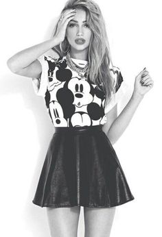 shirt mickey mouse cute blonde hair dark grunge skirt