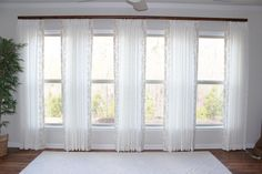 Sunroom Linen Draperies with Embroidered Banding