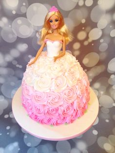 Pink Ombré Barbie Cake, by Amy Hart