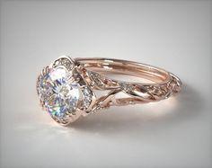 52710 engagement rings, vintage, 14k rose gold diamond filigree engagement ring item - Mobile  Love!
