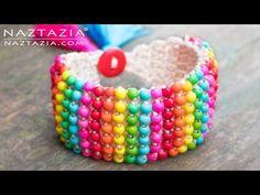 Crochet Boho Bead Bracelet - Bohemian Beaded Cuff - DIY Tutorial using Beads and Tunisian Crochet - YouTube