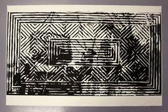 """Fangst"" woodcut print by Marius Johnsen"