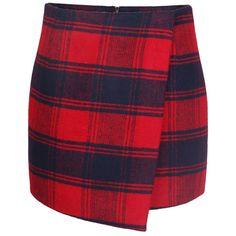 Blackfive Asymmetric Hem Zipped Slim Plaid Skirt ($29) ❤ liked on Polyvore featuring skirts, bottoms, blackfive, plaid, tartan skirt, red skirt, red plaid skirt, red knee length skirt and red tartan skirt