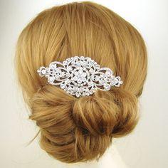 Victorian Style Bridal Hair Comb, Crystal Rhinestone Bridal Hairpiece, Vintage Bridal Headpiece, Wedding Hair Accessories, ANDORRA. $82.00, via Etsy.