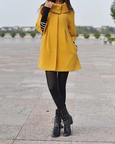 Yellow Cape Wool Coat Winter Woman Cloak Long by dresstore2000, $49.89