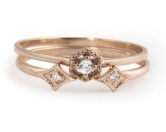 Rose gold engagement ring set .30.35ct F SI 3EX GIA