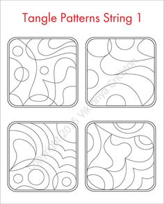 Strings for drawing zentangles. Tangle pattern string.  Print A4 sheet and fill Tangle ready strings to get his tiles-zentangle. This template can