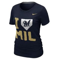 Nike Milwaukee Brewers Ladies I Love Slim Fit T-Shirt