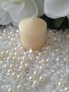 500 Pcs Pearls & Diamond Mixes Ivory/White, Clear Diamonds For Candle Votive Fillers, Table Scatter/Confetti and wedding decors