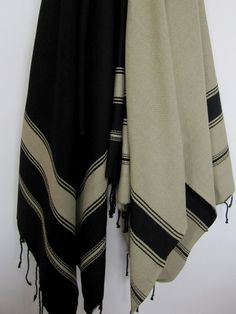 Fouta in black and tan stripes by Scents and Feel - shopped by Style Icon Ashley Stark of Stark carpet