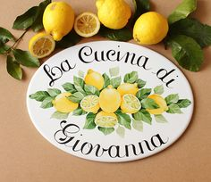 Ceramic personalized kitchen signs, kitchen wall decor with lemons, Farmhouse kitchen sign, Personalized gift for mom Farmhouse Kitchen Signs, Kitchen Decor Signs, Personalized Housewarming Gifts, Beach House Signs, Painted Plates, Coffee Shop Design, Tile Murals, Garden Signs, Round House
