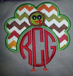 Turkey Thanksgiving Monogram Embroidery Designs