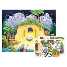 Cute way to teach children about Christ's birth. Each day children can peel and add a new sticker to reveal details of the nativity scene. Available from Christian stores online, printeryhouse.org. #printeryhouse