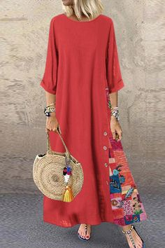 Fashion Women Casual Baggy Loose Half Sleeve Patchwork O Neck Beach Dress Floral Printed Bohemian Holiday Maxi Dresses Plus Size Dress Robe Femme Long Summer Dresses, Party Dresses For Women, Dress Summer, Vestidos Vintage, Vintage Dresses, Half Sleeves, Types Of Sleeves, Stitching Dresses, Vacation Dresses