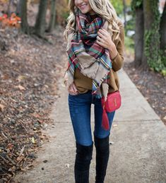 Thanksgiving Outfit // plaid blanket scarf, red purse & over the knee boots