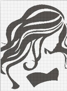Beautiful Woman Silhouette Free Cross Stitch Pattern Chart