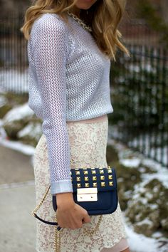 MINK & IVORY : Sweater Sandro, Skirt French Connection, Purse Michael Kors