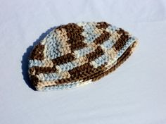 Brown and Blue Baby Beanie by crochetbymegs on Etsy, $10.00
