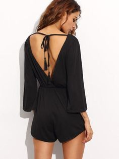 Casual Long Sleeve Lace Back Tie Romper