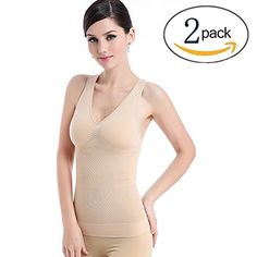 8d7a1ef54b698 Slimming Tank Top with Builtin Bra Removable Pads VNeck TBack 2 Pack  Wireless Cami Tank Top