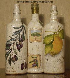 """Декоративная посуда ручной работы. Ярмарка Мастеров - ручная работа Бутылки """"Итальянская пастораль"""" с оливой и лимоном проданы. Handmade."""