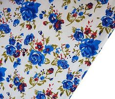 Ebay - White 100%cotton sewing fabric floral printed for woman dress by 1 yard