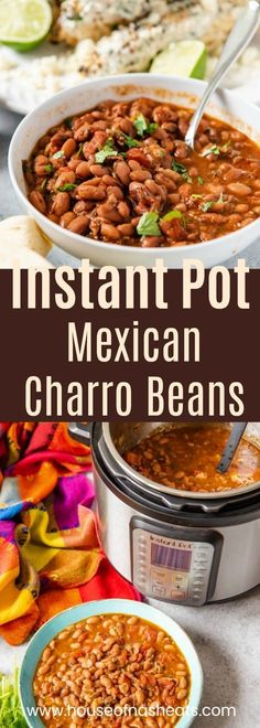 Forget tacos and celebrate Cinco de Mayo with some Charro Beans (Frijoles Charros) cooked in the Instant Pot and served alongside some carne asada, grilled Mexican street corn, fresh tortillas, and horchata for a delicious and culturally authentic Mexican Authentic Mexican Recipes, Mexican Food Recipes, Mexican Cooking, Carne Asada, Instant Pot Dinner Recipes, Side Dish Recipes, Recipes Dinner, Instant Pot Pressure Cooker, Pressure Cooker Recipes