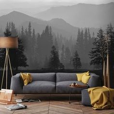 Misty Mountains Mural, , large Bedroom Murals, Bedroom Decor, Bedroom Wall, Train Bedroom, Bedroom Ideas, Dream Rooms, Mountain Bedroom, Mountain Mural, Mountain Decor