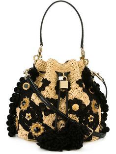 DOLCE & GABBANA Embellished Crochet Bag. #dolcegabbana #bags #shoulder bags #