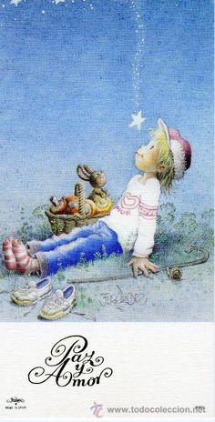 Detalle de la imagen de -Felicitación navidad FERRANDIZ (Niño sentado) (Postales - Navidad)