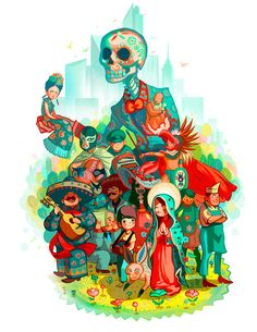 Do you love Mexico? This illustration representspeople or icons you can find in Mexican popular culture, from Frida KhaloLa Muerte, El luchador and the Mariachi!