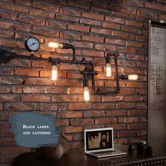 NEW Industrial Steampunk Wall Lamp Retro Light Rustic Vintage Loft Pipe Lighting