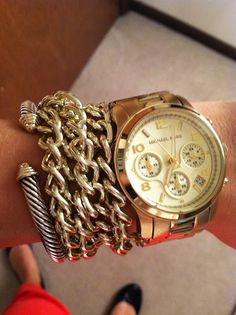 Gold Watch Stacks... via A Girl In The Know