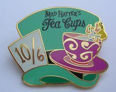 DISNEY PIN MAD HATTER'S TEA CUPS ALICE IN WONDERLAND