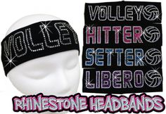 "Standout with these Rhinestone Stretch Cotton/Spandex Volleyball Headbands! * These soft stretchy headbands are a fun accessory that not only holds your hair back well, but really make you SHINE! * They measure 2.5"" in width and 18"" in circumference. * 75% Cotton/25% Lycra. Made for ages 8 to adult."